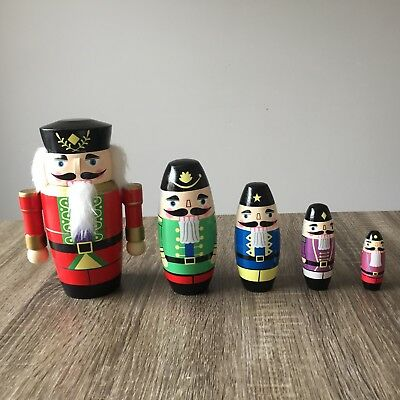 Nesting Dolls Wooden Nutcracker Christmas Set of 5 Babushka Dolls Russian