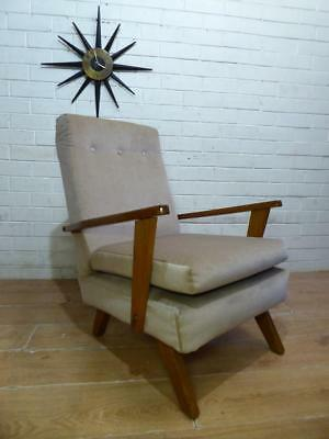 Groovy Retro Mid Century Modern Scandi 1950s Teak Armchair Tv Chair
