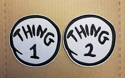 Dr Seuss Thing 1 Thing 2 embroidered Patch Set 4 inches Wide