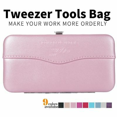 Eyelash Tweezers Box Leather Texture Lashes Extensions Makeup Tools Storage Bag