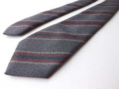 Vintage  Pure Wool Neck Tie Grey, Russet, Multi Stripe Mid Weight Weave FREE P&P