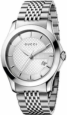 cab08463b2b New Gucci G-Timeless Silver Dial Stainless Steel Bracelet YA126401 Mens  Watch