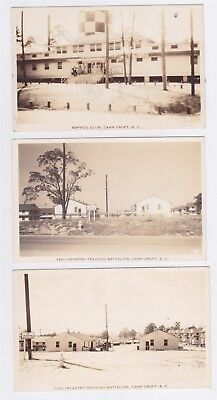 3 CAMP CROFT SC RPPC SERVICE CLUB 32 & 33rd INFANTRY TRAINING BATTALION WWII ERA