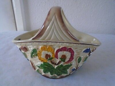 Porcelain Decorative Basket, Indian Tree by T wood, Hand Painted