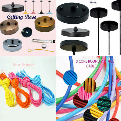 Metal Ceiling Rose for pendent light shades or 1m 3 Core Round Fabric Cables UK