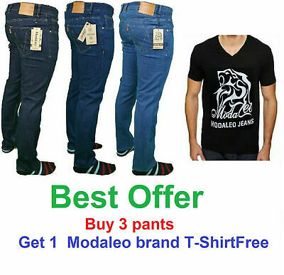 Modaleo Mens Skinny Stretch Fit  Denim Men Jeans All Waist Blue Black 5 pockets