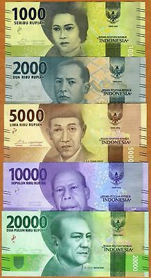 2016 Indonesia 1000,2000,5000,10000,20000 Rupiah SUPERB UNC Banknotes,1set=5 pcs