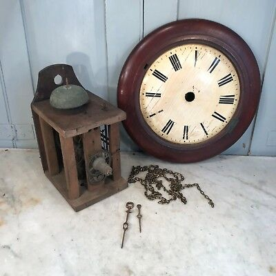 Antique wooden wall mounted postmans clock