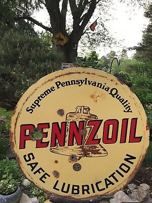 RARE VINTAGE ORIGINAL SIGN PENNZOIL BROWN BELL early 1900's 2 sided porcelain