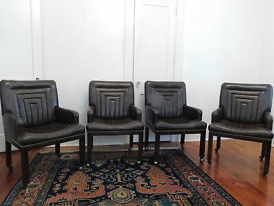 Vintage John Widdicomb Co. Brown Leather Chairs Set of Four