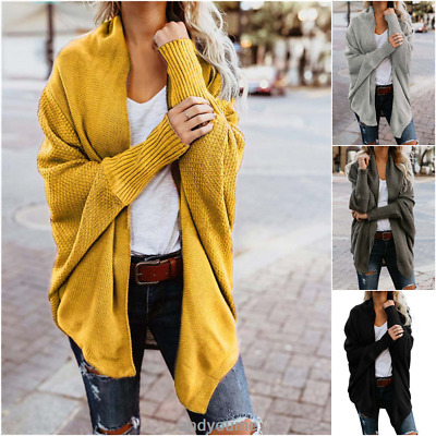 Womens Baggy Cardigan Coat Tops Ladies Chunky Knitted Oversized Sweater Jumper