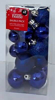 Christmas Tree Baubles - Pack Of 26 - Small & Tiny Mixture - Blue - Brand New