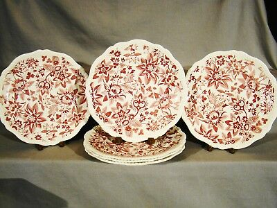"Antique Copeland Spode Red Transfer Flowers Pattern Cereal Bowls 7 1//2/"" 1925-26"