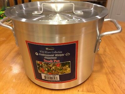 Stock Pot  Aluminum  W/Cover 8 Qt ~ Food Service Trade ~  New In Box ~ Heavy Wt.