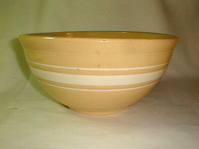 "Yelloware old mixing bowl white bands large 12"" W x 6"" H VG No 12 USA pottery"