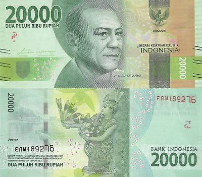"""PK-New""""Indonesia""""20,000 Rupiah""""ND2016""""New Design""""SUPERB UNC""""Banknote"""""""