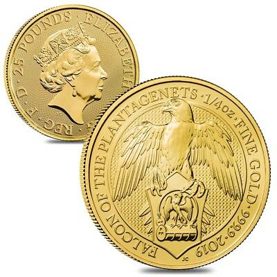 Lot of 2 - 2019 Great Britain 1/4 oz Gold Queen's Beasts (Falcon) Coin BU