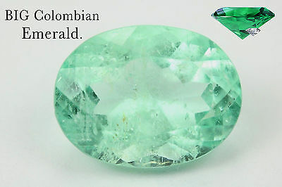 Big 12.83Ct Natural Colombian Oval Emerald Loose Stone