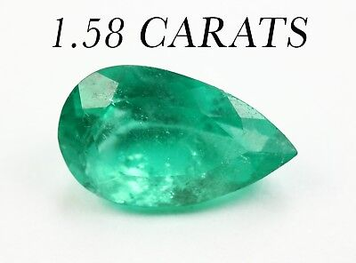 1.58 Cts 10 x 6 mm Green Pear Drop Natural Colombian Emerald Loose Gemstone