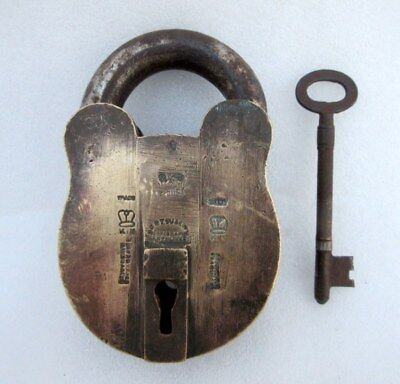 Antique Old Rare Hand Made K.N. Crown Mark Unique Rare Shape Solid Brass Padlock