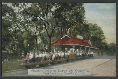 Hershey PA: 1920s Postcard MINIATURE TROLLEY HERSHEY PARK and Station
