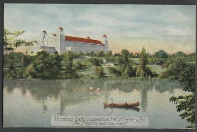 Hershey PA: 1920s Postcard HERSHEY PARK CONVENTION HALL, Chocolate & Cocoa Town