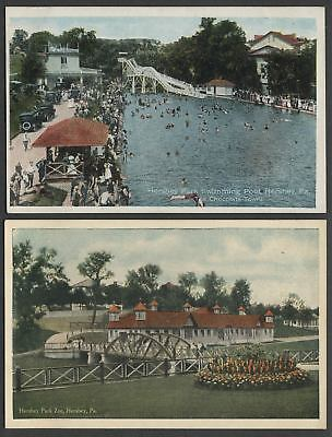 Hershey PA: Lot Two 1920s Postcards HERSHEY PARK SWIMMING POOL, ZOO