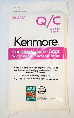 Kenmore 53292 6 Pack Type Q/C HEPA Vacuum Bags for Canister Vacuums