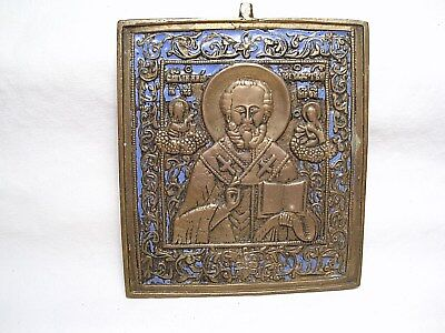 Mid -19th CENTURY RUSSIAN ICON  ST. NICHOLAS - BRASS w/ BLUE ENAMEL - NICE  !!!