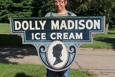 "Vintage 1940's Dolly Madison Ice Cream Gas Oil Soda Pop 46"" Embossed Metal Sign"
