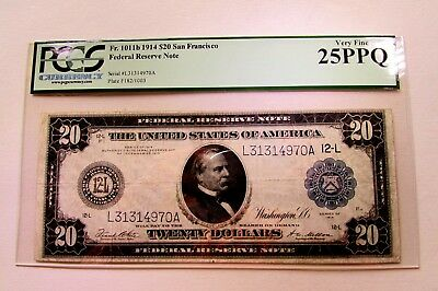 One 1914 Large Size Twenty Dollar Federal Reserve Note In Pcgs  Very Fine Ppq 25