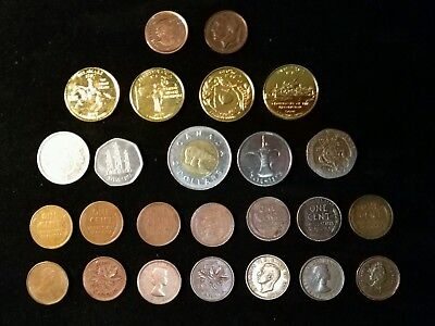 (37)Coin Mixed Lot Of US & Foreign Coins,Pennies,Quarters,Lire,Pence,$,1934-Date