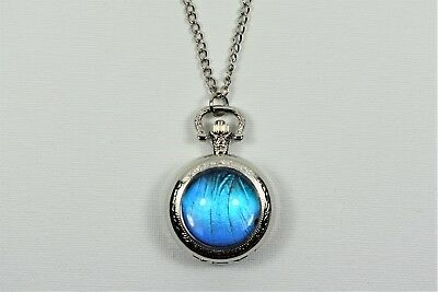 Blue Morpho Butterfly Pocket Watch Pendant Necklace Silver Finish Wing Jewelry
