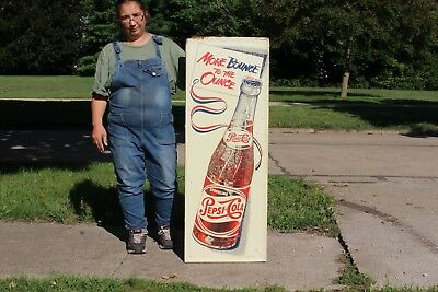 "Large Vintage 1950's Pepsi Cola Soda Pop Gas Station 48"" Embossed Metal Sign"