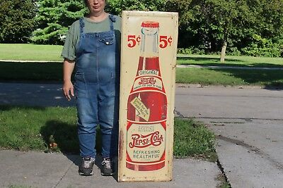"Large Vintage 1930's Pepsi Cola 5c Double Dot Soda Pop 49"" Embossed Metal Sign"