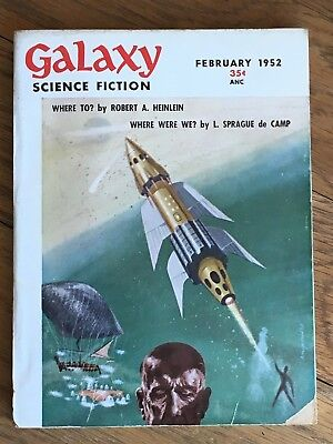 Galaxy - US Digest pulp vintage classic SF Feb 1952 Robert A. Heinlein, de Camp+