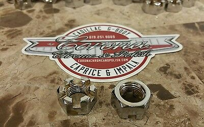 Two Chrome Castle Nuts 7/16-20 fine