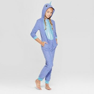 NARWHAL Fleece HOODED Pajamas Girl Child 10-16 Union Suit One Piece PJ Costume