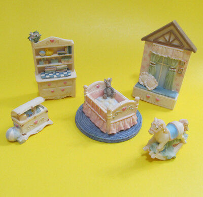 Avon Victorian Miniature Furniture Baby Nursery Polyresin Collectible 5 pcs