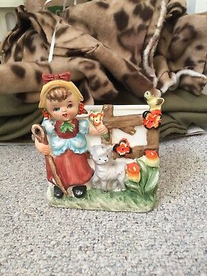 Vintage Bradley Exclusives Japan Girl with sheep and bird with flowers planter