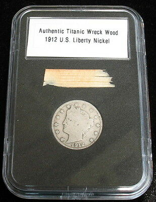 Authentic RMS Titanic Wreck Wood Relic and 1912 Liberty Nickel