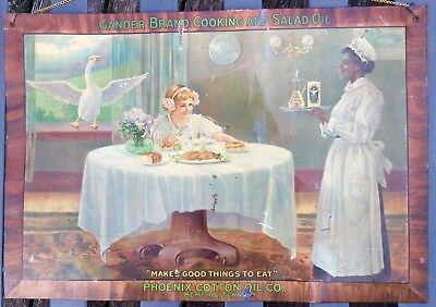 Gander Brand Cooking and Salad Oil Phoenix Cotton Oil Co. Original Tin Sign