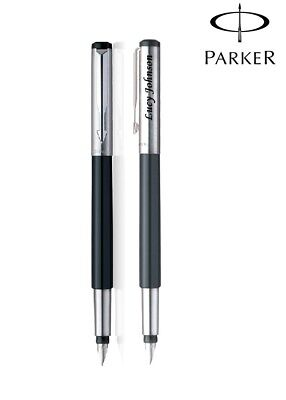 Personalised Engraved Parker Mettalix Black Body Chrome Trim CT Fountain Pen