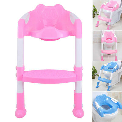 Folding Adjustable Ladder Seat Chair Baby Toddler Kid Potty Training Toilet Step