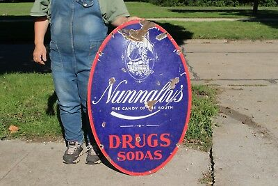 "Rare Vintage 1920's Nunnally's Candy Soda Drugs 2 Sided 36"" Porcelain Metal Sign"