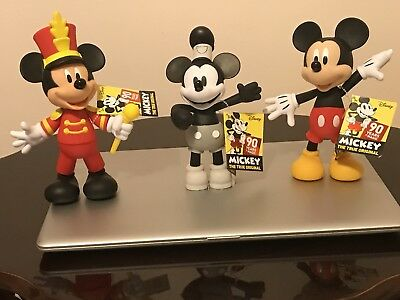 disney Mickey Mouse 90th Anniversary The True OriginaL Set  Of 3 Posable Figure