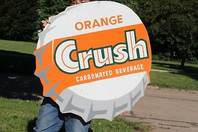"Large Vintage 1950's Orange Crush Soda Pop Bottle Cap Gas Station 32"" Metal Sign"