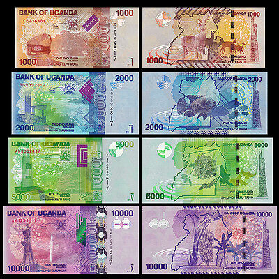 Uganda 1000 + 2000 +5000 +10000 Shillings BrandNew Banknotes set 4PCS