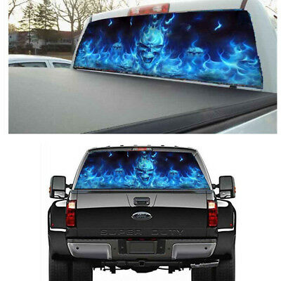 Flaming Skull Rear Window Tint Graphic Decal Wrap Amazing Back Tailgate Sticker