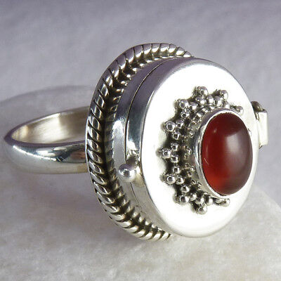 Poison/Pill Box Ring Size US 8.25 SILVERSARI Solid 925 Sterling Silver CARNELIAN